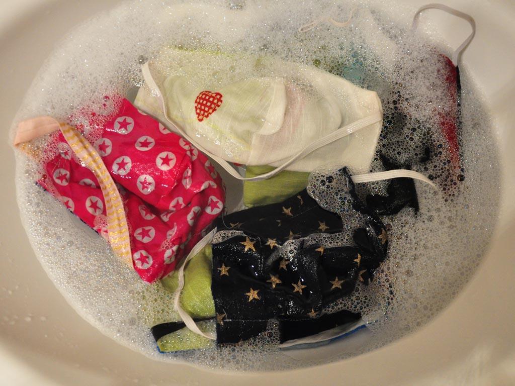 Pandemie, Stoffmasken waschen